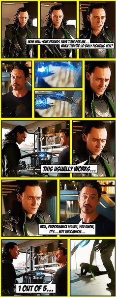 #TomHiddleston and #RobertDowneyJr   #Loki in The Avengers (2012)   Cool fanart