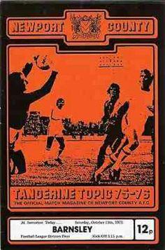 Newport Co 1 Barnsley 0 in October 1975 at Somerton Park. The programme cover Newport County, Barnsley, Football Program, 1970s, October, Comic Books, English, Park, Comics