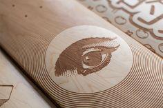laser engraved skate decks by magnetic kitchen design Longboard Design, Skateboard Design, Skateboard Decks, Custom Engraving, Laser Engraving, Gravure Laser, Skate Art, Skate Decks, Branding