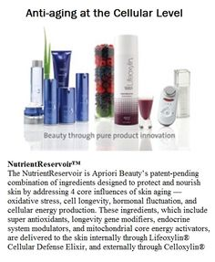 Apriori Beauty's Nutrient Reservoir fights the 4 core influences of aging ~ internally and externally. http://www.useloveshare.com/IC/robinswhitney/science?m=5