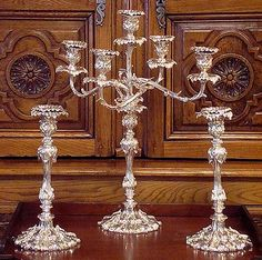 A set of Three Sheffield Silver Plated Candlesticks by Frederick Elkington & Co. Circa The Set Includes Candelabra and Candlesticks with Elaborate Leaf Decoration Silver Candelabra, Sheffield Silver, Butler Pantry, Antique Art, Old And New, Candlesticks, Art Nouveau, Silver Plate, Leaf Decoration