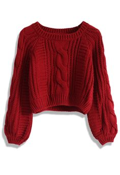 Cable Knit Crop Sweater in Wine - Sweaters - Tops - Retro, Indie and Unique Fash., Cable Knit Crop Sweater in Wine - Sweaters - Tops - Retro, Indie and Unique Fashion. Sweater And Shorts, Cropped Sweater, Sweater Outfits, Cute Outfits, Loose Sweater, Sweater Fashion, Winter Sweaters, Cozy Sweaters, Pullover Sweaters