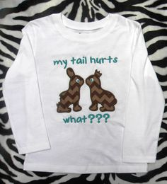 Funny Bunny Shirt; great for older kids :).  Embroidered Chocolate Easter Bunny Shirt by ReeseyRoos on Etsy, $25.00