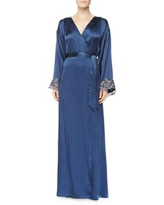 La Perla Maison Floral Lace Embroidered Long Gown & Robe, Blue/Gray £1153