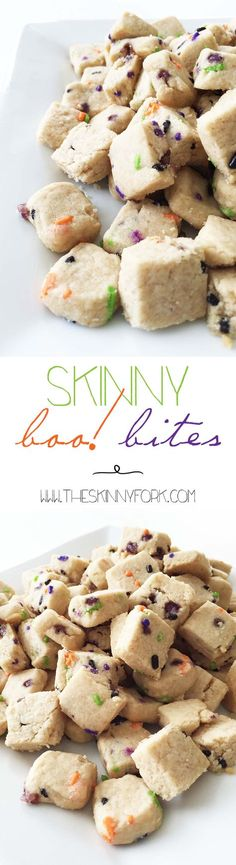 Skinny Boo Bites - Fun little sugar skull inspired bites of colorful short bread cookie! TheSkinnyFork.com #CelebrateLosMuertos #Ad