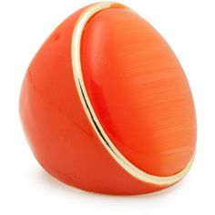 Bright Orange Oval Stone And Enamel Ring ❤ liked on Polyvore