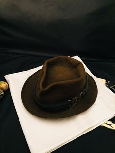 68689678ec81d Fedora Trilby Felt Hat Moss Green Braided Band Champ Rat Pack Hat