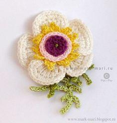 "Mark-Mari: Flower ""July Photo Tutorial and Graph Crochet Brooch, Crochet Fabric, Crochet Motif, Diy Crochet, Crochet Patterns, Crochet Cross, Irish Crochet, Knitted Flowers, Fabric Flowers"