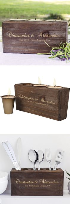 A unique centerpiece for a rustic wedding bridal table, this 9 x 3 stained pine wood sugar mold candle holder custom printed with the bride and groom's name, wedding year, city and state will add rustic charm for all to admire. After their wedding, the bride and groom can use as a decoration in their home as a candle holder, a utensil holder or planter. This sugar mold candle holder can be ordered at http://myweddingreceptionideas.com/personalized-rustic-sugar-mold-candle-holder.asp