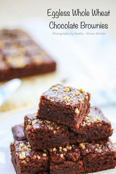 Whole wheat chocolate walnut brownies eggless whole wheat chocolate brownies Eggless Desserts, Eggless Recipes, Eggless Baking, Healthy Cake Recipes, Baking Recipes, Sweet Recipes, Dessert Recipes, Cupcake Recipes, Healthy Food
