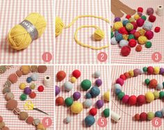 How to make felted wool balls - DROPS Lessons / Technique lessons Informations About How to make fel Felt Crafts Dolls, Yarn Crafts, Fabric Crafts, Crafts With Wool, Fabric Beads, Fabric Jewelry, Diy Crafts Hacks, Crafts To Make, Yarn Projects