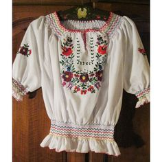 Hand embroidered Hungarian blouse ,Kalocsa embroidery on white batist... ❤ liked on Polyvore