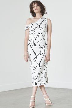 Asymmetric Shoulder Dress in Mono Print Lavish Alice Dress, Best Wedding Guest Dresses, Natural Curves, Fancy, Clothes For Women, Elegant, Mono Print, Shoulder Dress, Chic