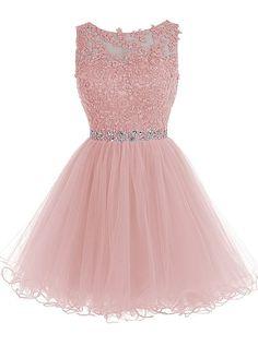 Tideclothes Short Beaded Prom Dress Tulle Applique Evening Dress Black US2