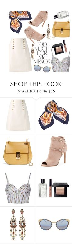 """""""Set #54 Too Much For My Mirror"""" by ranisahar ❤ liked on Polyvore featuring Rika, Gucci, Hermès, Chloé, Valentino, Au Jour Le Jour, Bobbi Brown Cosmetics, Diego Percossi Papi, Matthew Williamson and valentino"""