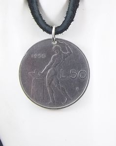 Italian Coin Necklace 50 Lire Coin Pendant by AutumnWindsJewelry