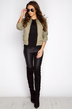 Megan McKenna Khaki Tie Back Bomber Jacket at misspap.co.uk