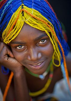 Mudimba Girl With A Beaded Wig Called Ena, Village Of Combelo, Angola