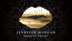 Eye Catching Black Gold Lips Makeup Artist Double-Sided Standard Business Cards (Pack Of Black Business Card, Business Card Design, Artist Branding, Best Makeup Artist, Makeup Artist Business Cards, Gold Lips, Lip Makeup, Makeup Salon, Card Templates