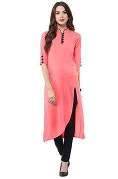 Janasya Indian Tunic Tops Crepe Kurti for Women Plain Kurti Designs, Simple Kurta Designs, Kurta Designs Women, Sleeves Designs For Dresses, Dress Neck Designs, Blouse Designs, Casual Formal Dresses, Stylish Dresses, Stylish Tops For Women