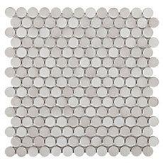 Gray Penny Porcelain Mosaic Tile Shower Floor Pan Decor