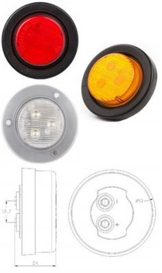 "2"" Round Sealed Side Marker and Clearance Light  Round Style Side Marker and Clearance light. Ideal for cars, buses, tow trucks, work vehicles, big rigs, transportation vehicles, public work vehicles, government work vehicles, or anything else in need of this style of light. Lens is made of poly carbonate for extra durability. Available in Red, Amber, or Clear. Operates on 10-30 volts. DOT and Emark certified."