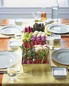 What an awesome way to serve veggies and dip!  It's a beautiful centerpiece too!