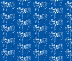 Horses in blues fabric by suebee on Spoonflower - custom fabric