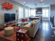 Before and After: The Property Brothers' Las Vegas Home - Dachboden Property Brothers At Home, House Property, Game Room Design, Family Room Design, Family Rooms, Pool Table Room, Pool Tables, Dining Tables, Upstairs Loft