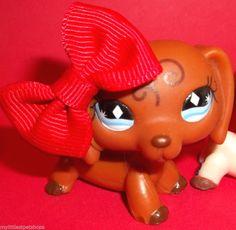 Littlest Pet Shop Lot 640 1491 Dachshund Wiener Dogs w Bow Food Accessories | eBay