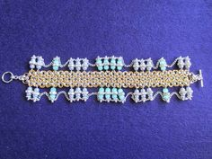chainmaille beaded bracelet EBEG от Lijuanbeadjewelry на Etsy