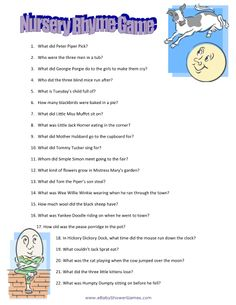 Printable Nursery Rhyme Quiz Don't forget to print the answer sheet too!