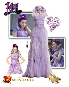 """""""Mal - Descendants"""" by gone-girl ❤ liked on Polyvore featuring Disney, Zuhair Murad, Kate Spade, MAC Cosmetics, disney, mal and Descendants"""