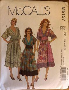 OOP 5137 McCalls (2006). Misses' Dresses. Size 14-16-18-20, Bust 36-38-40-42. Complete, unused, FF. Excellent condition.