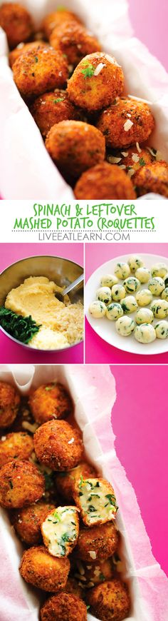 This Spinach and Mashed Potato Croquettes recipe is a quick and easy use for those leftover mashed potatoes you have this holiday season. With cheese, spinach, and garlic, these are a flavor-packed treat to make your family for snack, as an appetizer, or for a dinner side dish. // Live Eat Learn