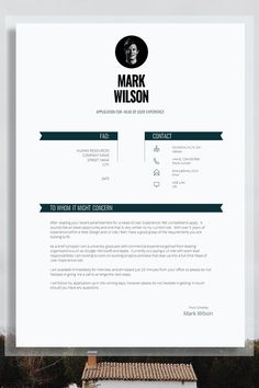 To get the job, you a need a great resume. The professionally-written, free resume examples below can help give you the inspiration you need to build an impressive resume of your own that impresses… Cv Resume Template, Modern Resume Template, Cv Design, Resume Design, Design Ideas, Cover Letter Template, Cover Letters, Letter Templates, Cv Advice