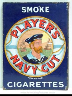 Player's Navy Cut Blue Enamel Sign