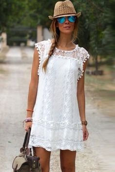 2019 Women Sexy Lace Flare Sleeveless Mini Short Beach Dresses For Women Solid White Hollow Out Loose Casual Beach Dresses Girls White Lace Mini Dress, White Dress Summer, Short Mini Dress, White Chiffon, Short Beach Dresses, Summer Dresses, Casual Dresses, Dresses Art, Dress Beach