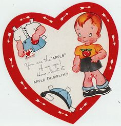 A Meri Card Greeting Paper Doll Card Rare Vintage 137 Apple OF EYE Valentine | eBay