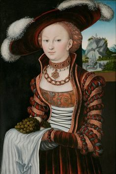 Portrait of a Young Woman holding Grapes and Apples, Lucas Cranach the Eld. - Portrait of a Young Woman holding Grapes and Apples, Lucas Cranach the Elder, Saxony, Germany - Costume Renaissance, Renaissance Kunst, Die Renaissance, Renaissance Portraits, Renaissance Paintings, Renaissance Clothing, Renaissance Fashion, Victorian Paintings, Jan Van Eyck