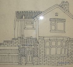 Embroidered house, just look at the detail. Brilliant.