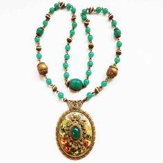 Early 1900s Green Peking Czech Glass Brass Floral Enamel Pendant Necklace   eBay