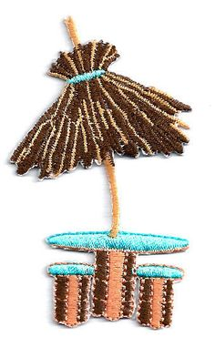 Tiki - Tropical - Beach - Umbrella -Table - Embroidered Iron On Applique Patch #Unbranded