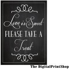 Wedding Reception Candy Table Favor SIGN Candy by DigitalPrintShop, $4.99 #wedding #printable #decoration