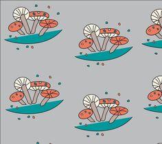 "Fabric+""Mid+Century+Modern+Mushroom""+by+Carswell+King"