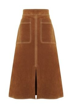 Ways to wear long Seventies skirt trend - M&S Suede skirt 2015 Fashion Trends, Fashion 2020, 70s Fashion, Calf Length Skirts, Olivia Palermo, Alexa Chung, Suede Skirt, Corduroy Skirt, Skirt Outfits
