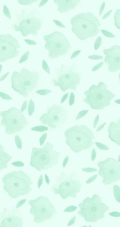 Mint floral iPhone wallpaper