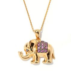 "NYC II Exotic Gemstone Elephant Pendant w/ 18"" Chain, RP (Graduation) $44,"