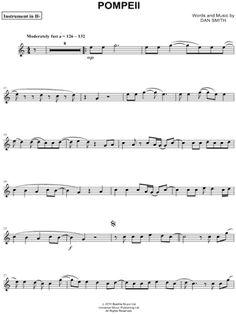 """Bastille """"Pompeii - Bb Instrument"""" Sheet Music (Trumpet, Clarinet, Soprano Saxophone or Tenor Saxophone) - Download & Print"""