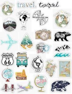 Unique and Creative Travel Sticker Pack - diy telefonkasten - Phone Cases Tumblr Stickers, Phone Stickers, Diy Stickers, Printable Stickers, Planner Stickers, Sticker Ideas, Logo Stickers, Snapchat Stickers, Sticker Designs